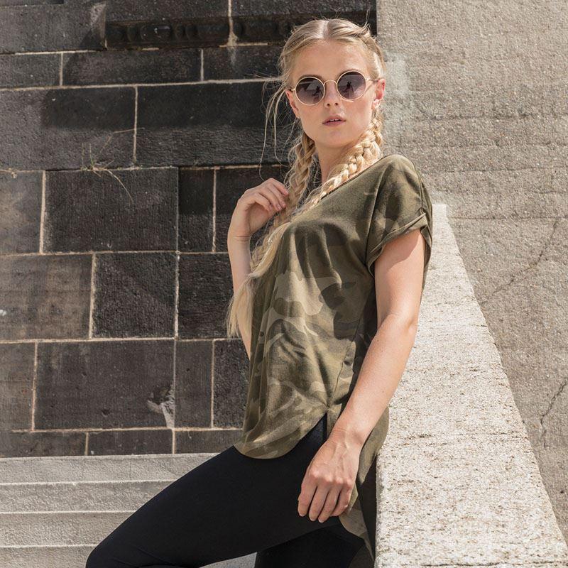 Damen Camo Extended Shoulder Camo TeeBuild Your Brand
